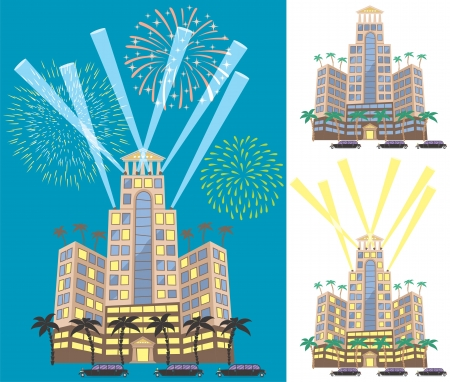 Cartoon illustration of luxury hotel in 3 versions. No transparency and gradients used. Stock Vector - 18438819