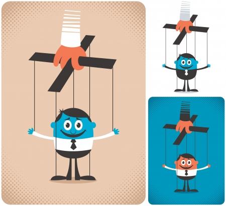 marioneta: Concepto de ilustración con títeres. Es en 3 versiones. Ninguna transparencia y gradientes usados.