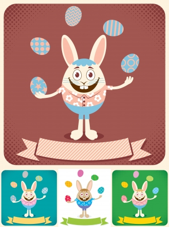 Easter bunny juggling with Easter eggs. Illustration is in 4 versions. No transparency and gradients used. Stock Vector - 18762191