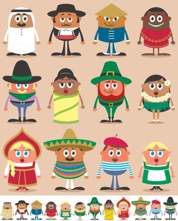 regional: Set of 12 characters dressed in different national costumes. Each character is in 2 color versions depending on the background. No transparency and gradients used.