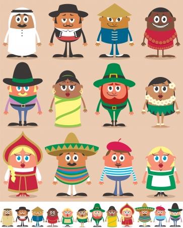 Set van 12 tekens gekleed in verschillende klederdrachten. Elk personage is in 2 kleuren versies, afhankelijk van de achtergrond. Geen transparantie en gradiënten.