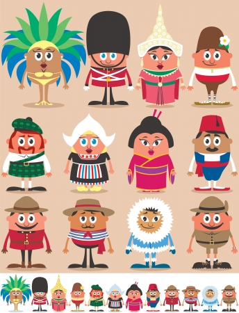 regional: Conjunto de 12 personajes vestidos con diferentes trajes nacionales. Cada personaje est� en dos versiones de color dependiendo del fondo. Sin transparencia y degradados utilizados.