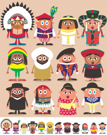 Set of 12 characters dressed in different national costumes. Each character is in 2 color versions depending on the background. No transparency and gradients used. Vector