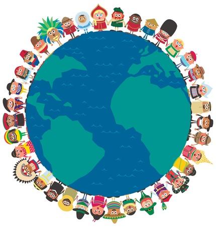 Gente de todo el mundo con las manos como símbolo de unidad. Sin transparencia y degradados utilizados.