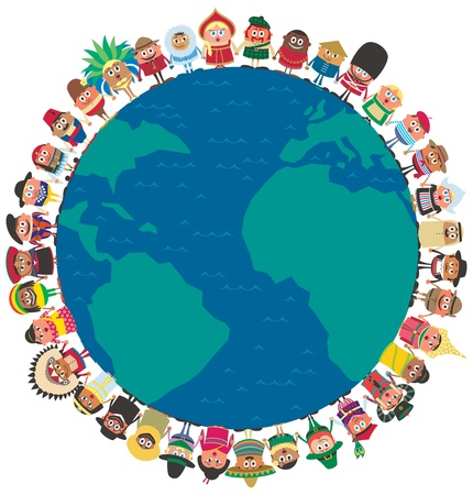 world group: People from around the world holding hands as a symbol of unity. No transparency and gradients used.  Illustration