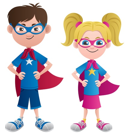 Illustration of 2 super kids: Super boy and super girl. No transparency used. Basic (linear) gradients.