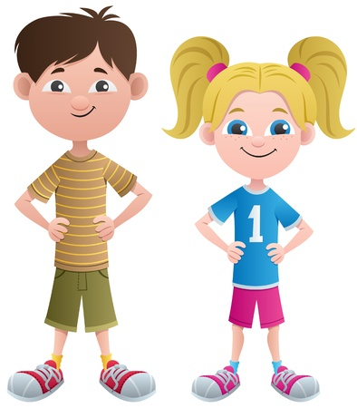 pigtails: Cartoon boy and girl. No transparency used. Basic (linear) gradients.