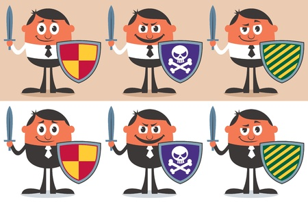 Conceptual illustration for business warrior. It is in 6 different versions. You can place logo over the shield. No transparency and gradients used.  Vector