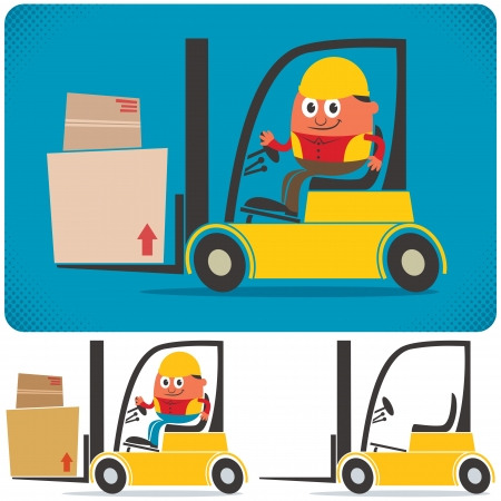 machine operator: Cartoon illustration of forklift with and without driver. No transparency and gradients used.