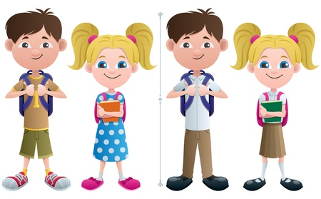 elementary students: Vector illustration of schoolboy and schoolgirl in 2 versions, casual and in uniform.  No transparency used. Basic (linear) gradients.