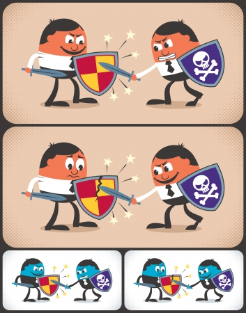 Conceptual illustration of business rivalry. It is in 4 different version.  No transparency and gradients used.  Illustration