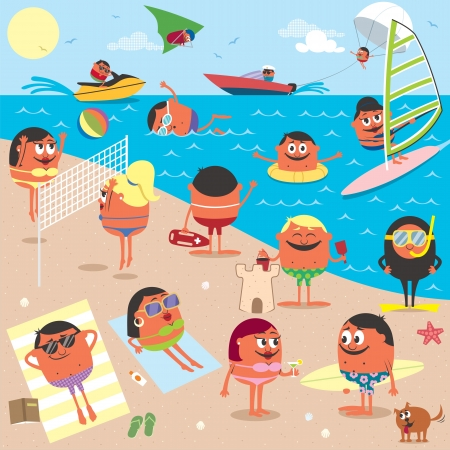 Cartoon illustration of busy beach. No transparency and gradients used. Vector