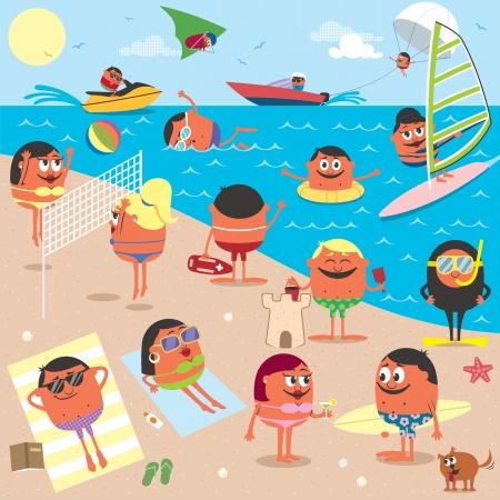 Fumetto illustrazione di spiaggia occupata. Senza trasparenza e sfumature utilizzati. Archivio Fotografico - 20321945