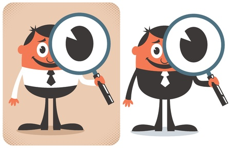 business focus: Conceptual illustration for searching. No transparency and gradients used.