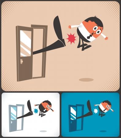 Hombre siendo expulsado. La ilustración está en 3 versiones de color. Sin transparencia y degradados utilizados. Ilustración de vector