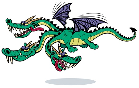 Cartoon three-headed dragon over white background  No transparency and gradients used