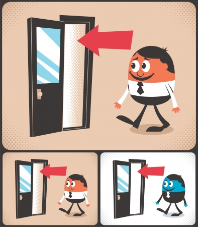main entrance: Cartoon man entering door  Illustration is in 3 versions  No transparency and gradients used   Illustration