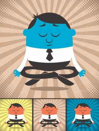 Meditating businessman  The illustration is in 4 color versions  No transparency and gradients used    Vector