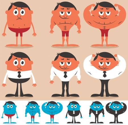 naked male body: Cartoon character before and after getting fit  Character is in 4 different color versions  No transparency and gradients used   Illustration
