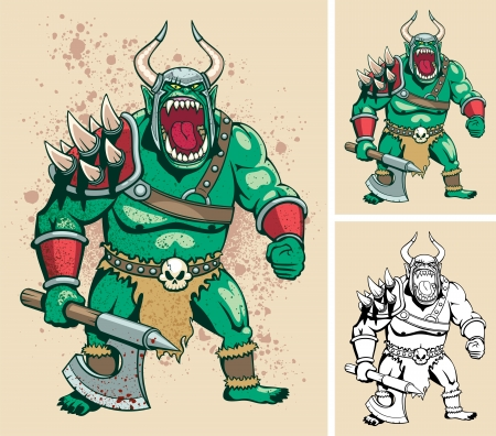 Illustration of orc  It is in 3 different versions  No transparency and gradients used    Vector