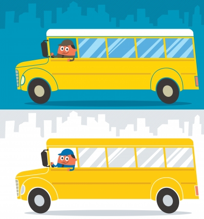 Cartoon school bus and its driver  Illustration is in 2 color versions   No transparency and gradients used  Vector