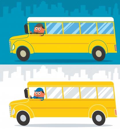 autobus escolar: Historieta del autob�s escolar y su ilustraci�n controlador se encuentra en 2 versiones de color Sin transparencia y gradientes usados