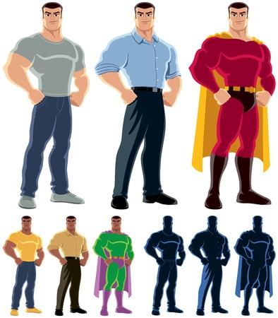 hombre fuerte: Hombre ordinario se transforma en superhéroe Sin transparencia y gradientes usados Vectores