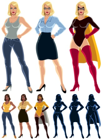 Ordinary woman transforms into superheroine  No transparency and gradients used  Vector