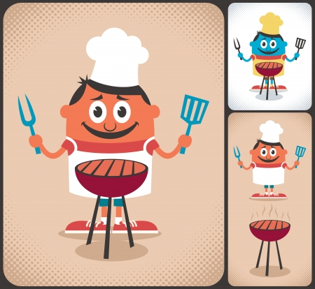 Cartoon character with barbecue grill  No transparency and gradients used  Vector