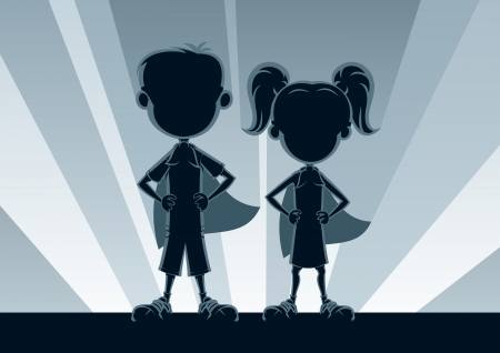 dressing up costume: Boy and girl heroes, posing in front of light