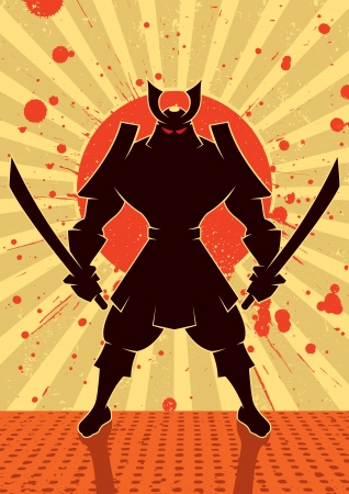 artes marciales: Ilustración de dibujos animados de guerrero samurai
