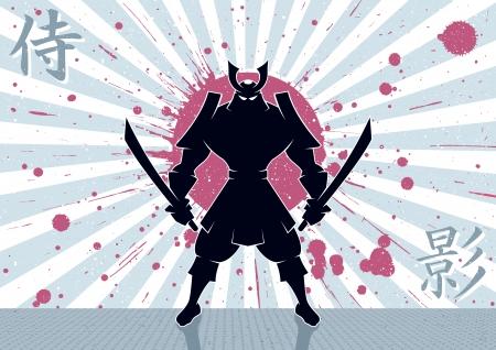 samourai: Guerrier samouraï fond Aucune transparence et dégradés utilisés