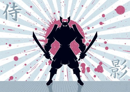 Samurai warrior background  No transparency and gradients used  Vector