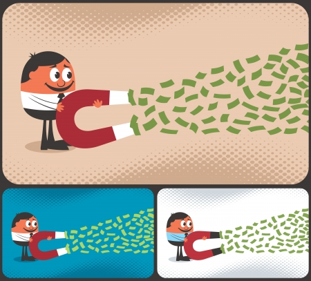 passive earnings: Cartoon character attracting money with magnet