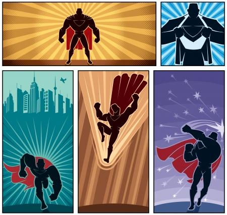 super human: Conjunto de banderas del h�roe Vectores