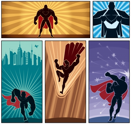 super guy: Set of hero banners  Illustration