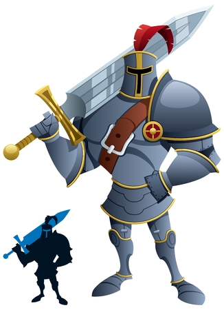 Cartoon knight.  Silhouette version included  Vector