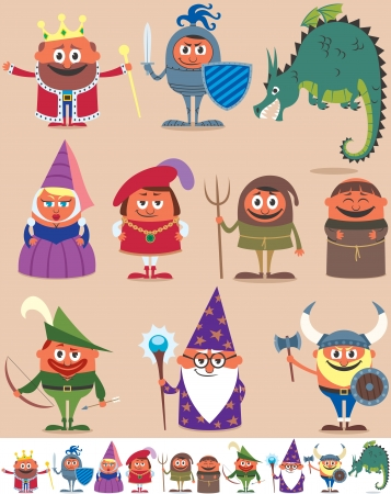 Set of 10 cartoon medieval characters   Иллюстрация