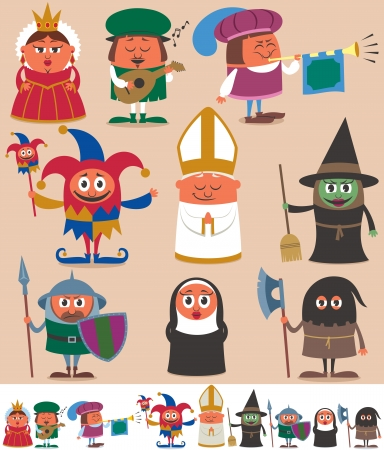 Set of 9 cartoon medieval characters  Below are the same characters customized for white background  No transparency and gradients used   Vector