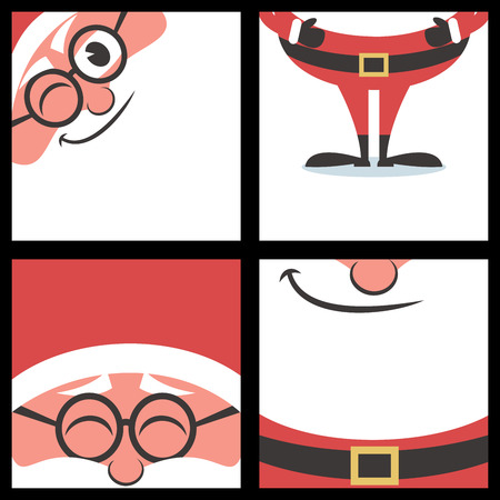 clip art santa claus: Set of 4 cartoon Christmas banners with Santa Claus and copy space  Illustration