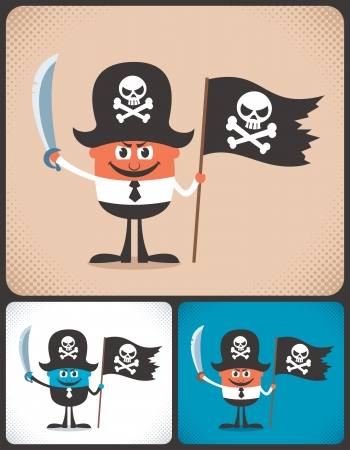 covetous: Conceptual illustration of businessman with pirate accessories  Illustration