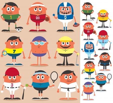 Set of cartoon characters representing different sports  No transparency and gradients used  Illustration