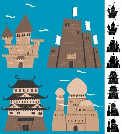 castle cartoon: Set of cartoon castles