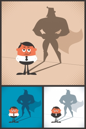 Conceptual illustration of businessman with hero shadow