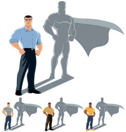 shadow: Conceptual illustration of ordinary man with hero shadow