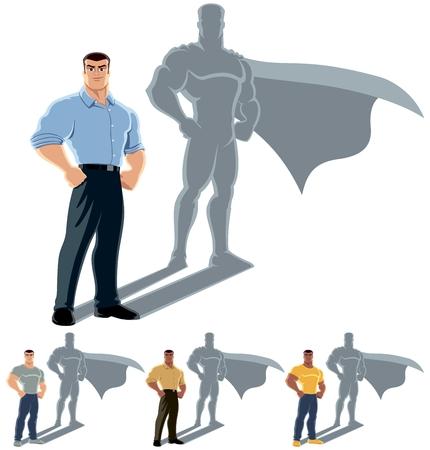 Conceptuele illustratie van de gewone man met heldenschaduw
