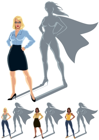 Conceptual illustration of ordinary woman with heroine shadow   Ilustracja