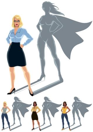Conceptuele illustratie van de gewone vrouw met heldin schaduw