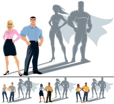 Conceptuele illustratie van gewone echtpaar met heldenschaduw