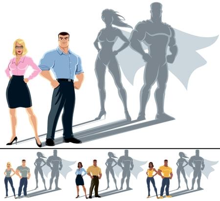 Illustrazione concettuale di coppia normale con l'eroe ombra Archivio Fotografico - 24517422